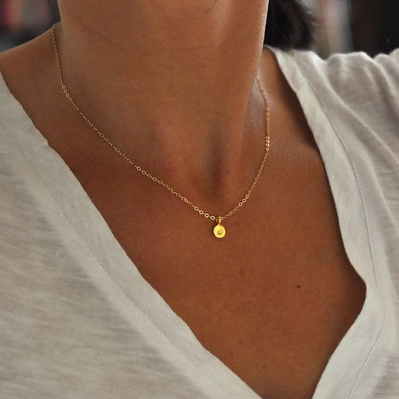 14k solid yellow gold initial charm necklace - hand stamped - Vivien Frank Designs