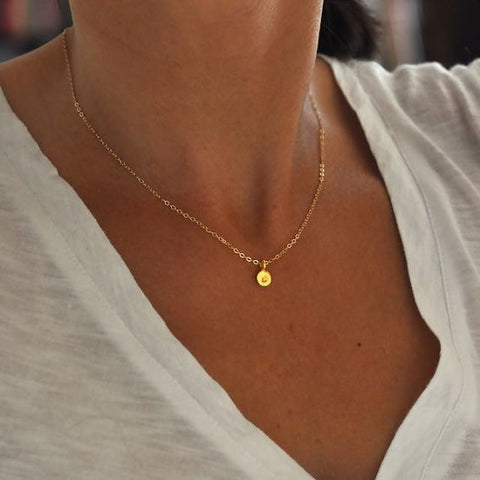 14k solid yellow gold initial charm necklace - hand stamped