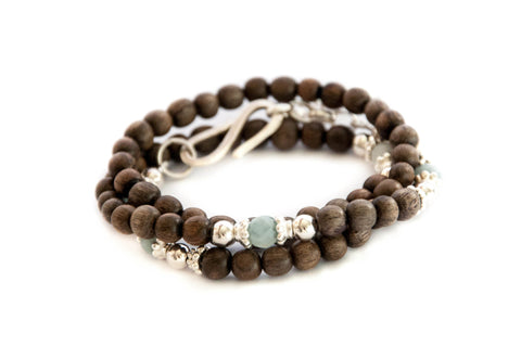 Triple wrap wood bead bracelet