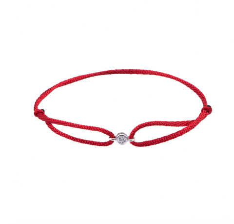 Diamond solitaire adjustable silk bracelet Red