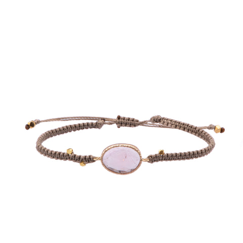 Light Pink Tourmaline Macrame Bracelet