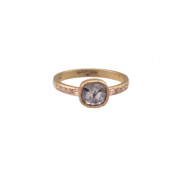 Natural Rose Cut Diamond Ring - Black - Vivien Frank Designs