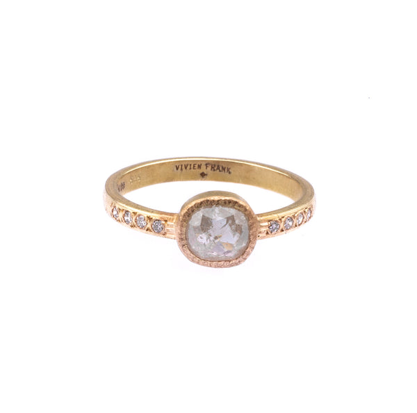 Natural Rose Cut Diamond Ring - Grey - Vivien Frank Designs