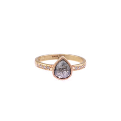 Salt and Pepper Diamond pear shaped ring