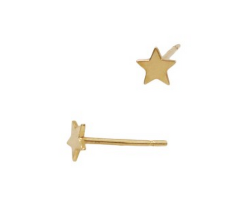 Gold Star Stud Earrings in 14k gold