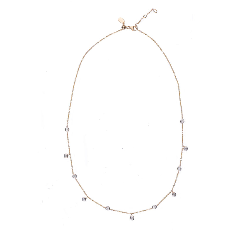 Floating Diamond Bezel Necklace - Vivien Frank Designs