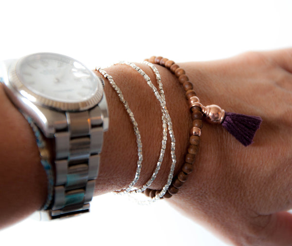 Rosewood with Rose gold tassel bracelet - Vivien Frank Designs