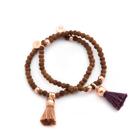 Rosewood with Rose gold tassel bracelet