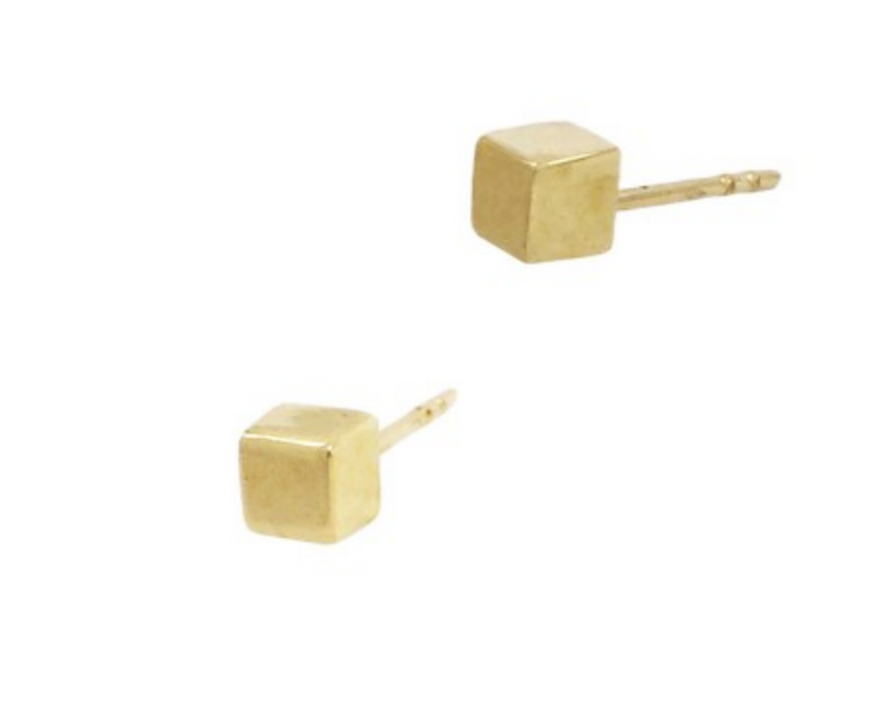 Gold Cube Stud Earrings - Vivien Frank Designs