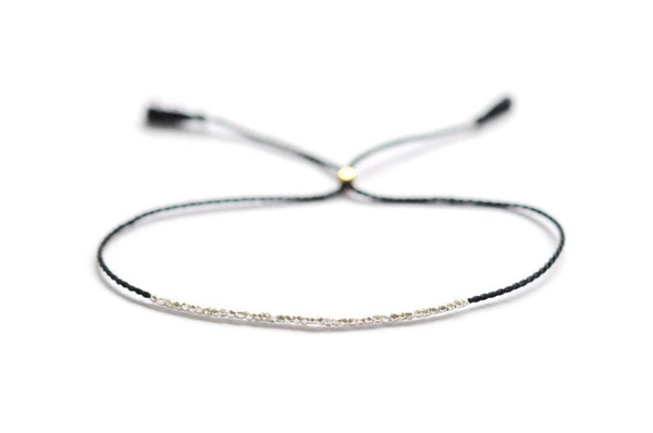 Delicate Silver on black silk bracelet - Vivien Frank Designs