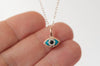14k solid gold evil eye charm necklace