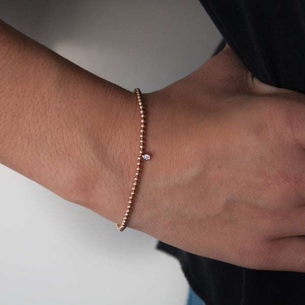 14k Gold Bead Bracelet with Diamond Charm - Vivien Frank Designs