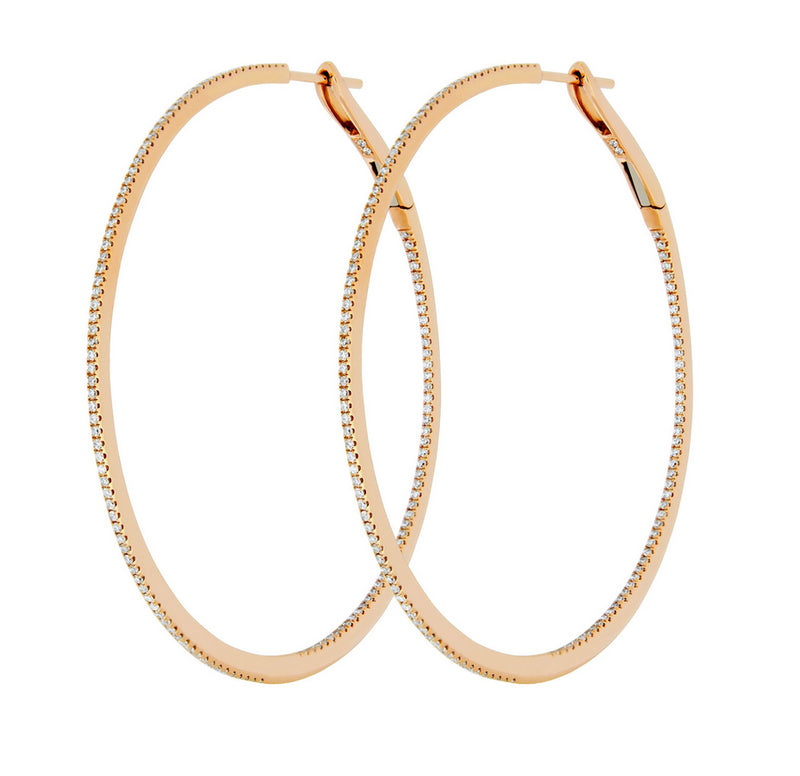 Diamond Hoop Earrings 18k Rose Gold Front to Back 40mm - Vivien Frank Designs