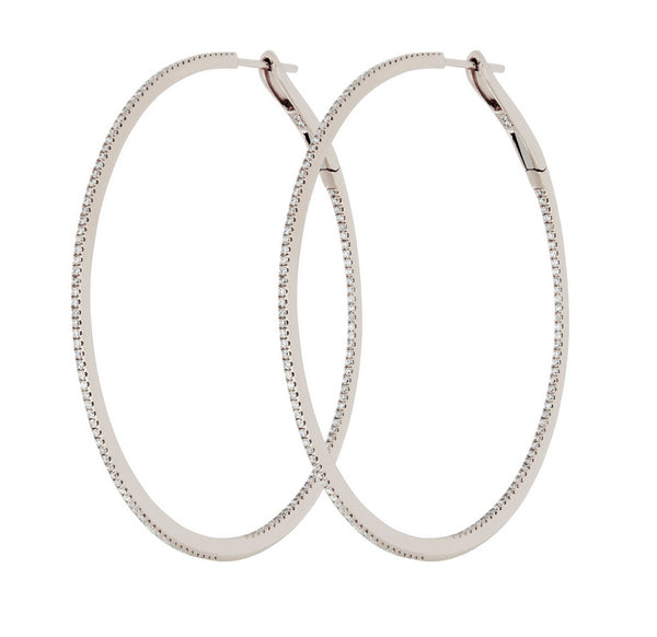 Diamond Hoop Earrings 18k Gold Front to Back 50mm - Vivien Frank Designs