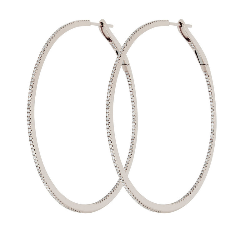 Diamond Hoop Earrings 18k Gold Front to Back 50mm