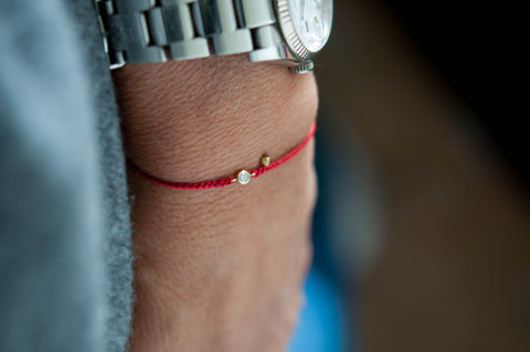 Braided Diamond Friendship Bracelet -Red String