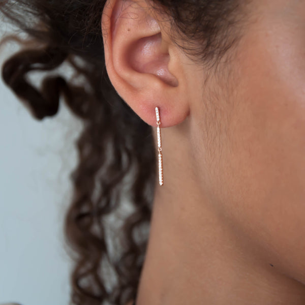 Diamond Bar Drop Earrings - Vivien Frank Designs