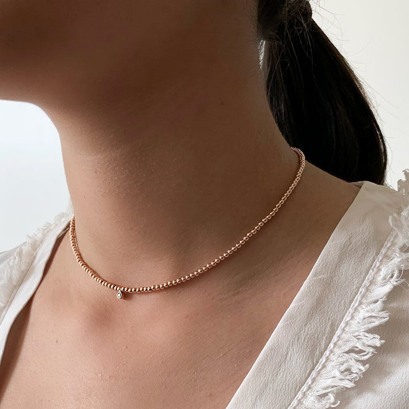 Gold Bead Choker Necklace with diamond dangle charm - Vivien Frank Designs