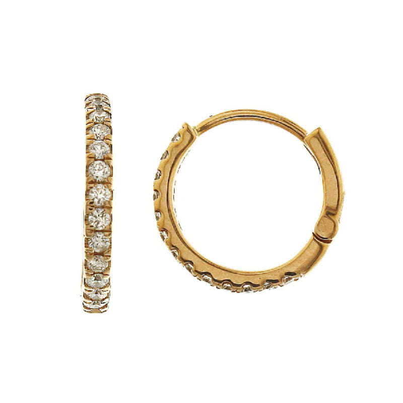 Diamond Huggie Hoop Earrings in 14k gold - Vivien Frank Designs