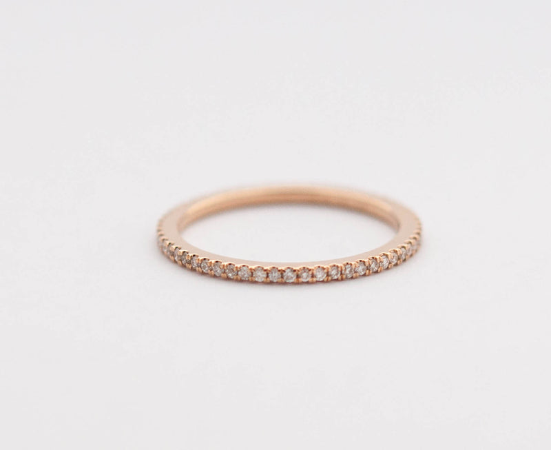 White Diamond Eternity Band in 18k Rose Gold - Vivien Frank Designs