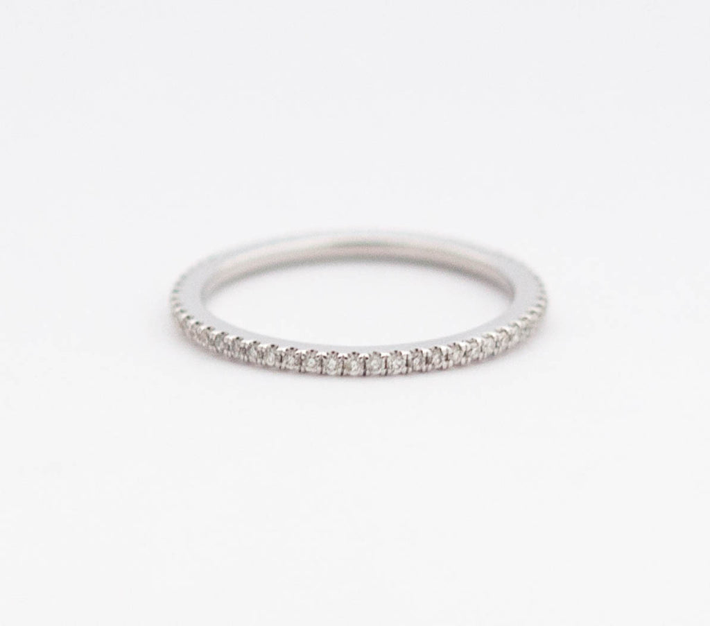 White Diamond Eternity Band in 18k White Gold - Vivien Frank Designs