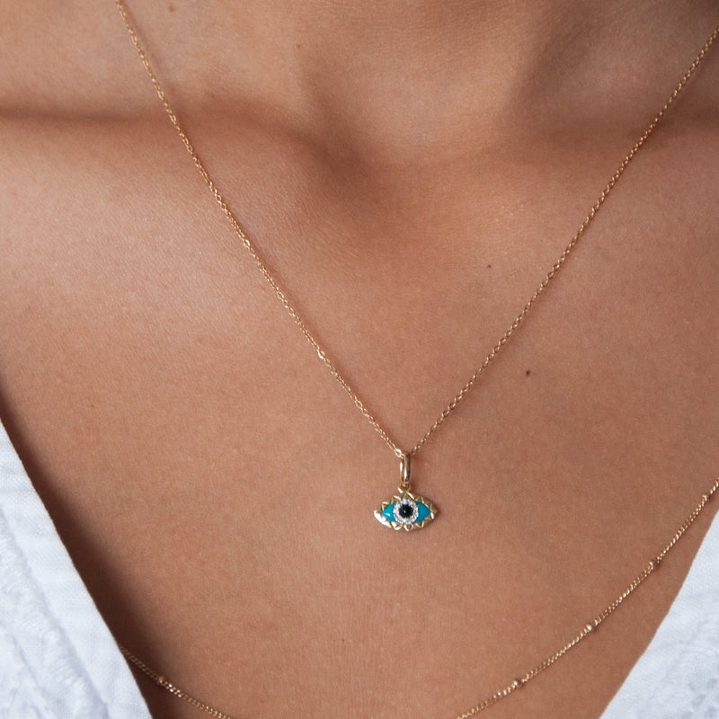 14k solid gold evil eye charm necklace - Vivien Frank Designs