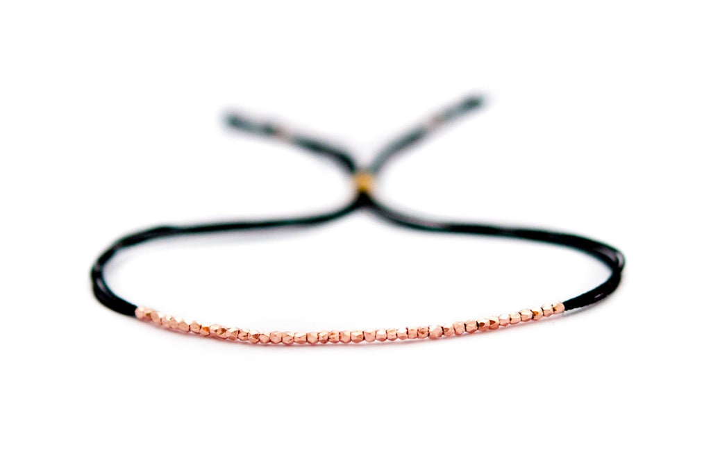 Rose Gold on Black Silk friendship bracelet