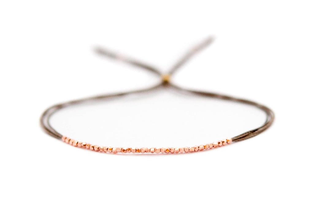 Rose gold and Gray silk friendship bracelet