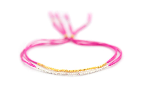 Hot Pink Silk Friendship Bracelet