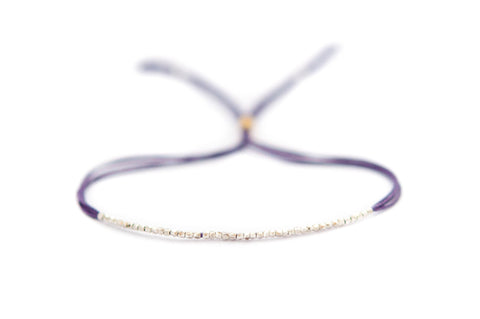 Plum Silk on Silver friendship bracelet