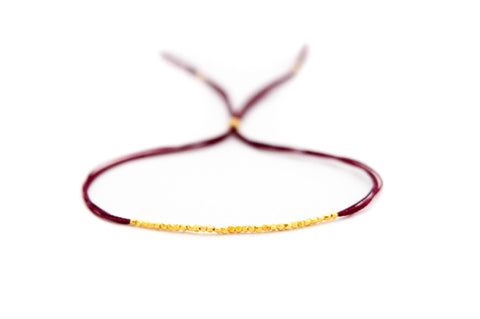 Red on Gold Silk Friendship Bracelet
