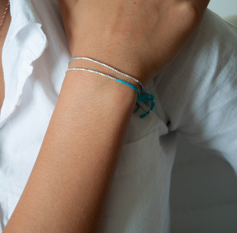 Turquoise with Gold friendship bracelet - Vivien Frank Designs