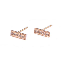 Diamond Bar Earring Stud - Vivien Frank Designs