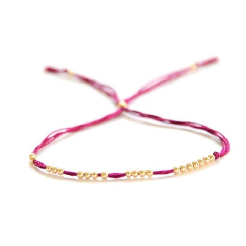 14k solid gold beaded friendship bracelet