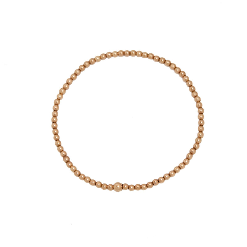 gold bead bracelet in 14k gold