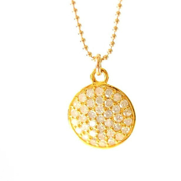 Diamond Disc Necklace 14k yellow gold