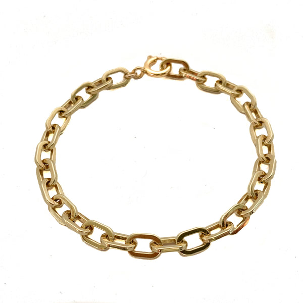 Rectangle Link Bracelet in 14k solid gold