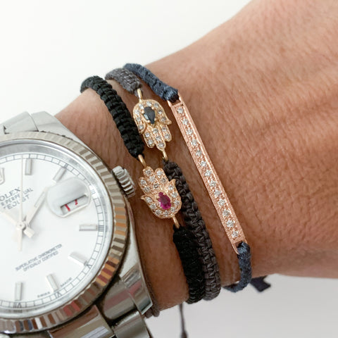 Gold Hamsa Bracelet with Ruby