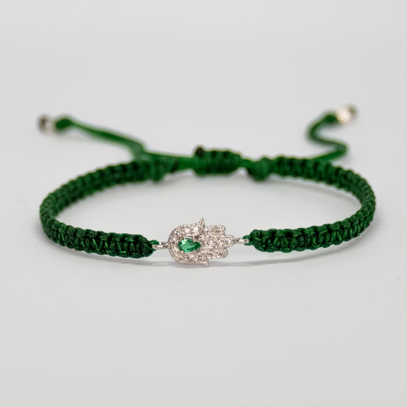 Gold Hamsa Bracelet with Emerald - Vivien Frank Designs