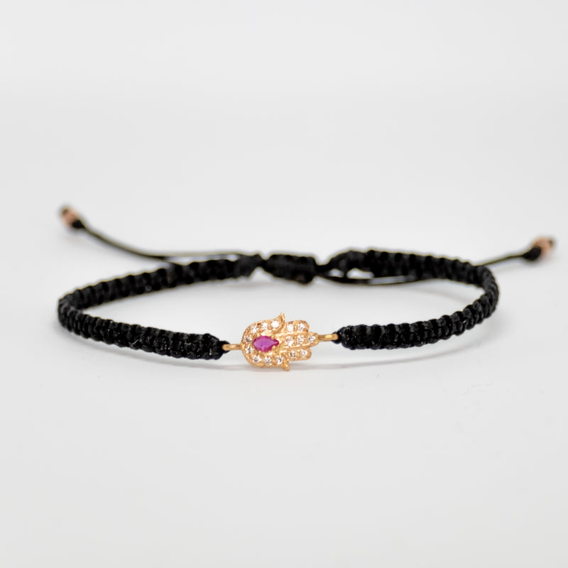 Gold Hamsa Bracelet with Ruby - Vivien Frank Designs