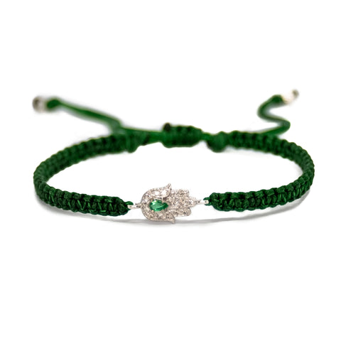 Gold Hamsa Bracelet with Emerald