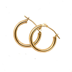 14k Gold Hoop Earrings 16mm - Vivien Frank Designs