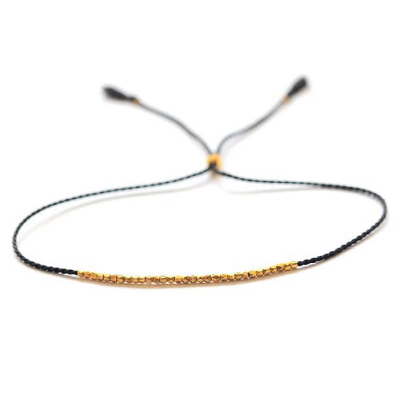 Delicate Gold on black silk bracelet - Vivien Frank Designs