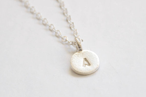 Tiny Silver initial necklace - Vivien Frank Designs