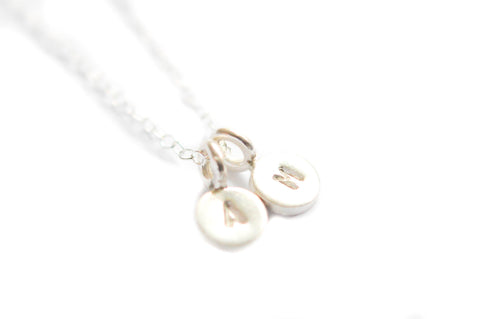 Silver Tiny initial necklace - two charms