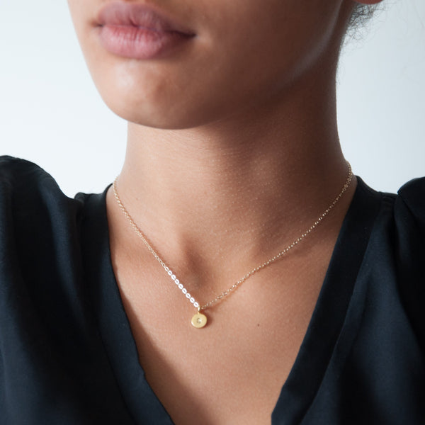 Gold Initial necklace 14k
