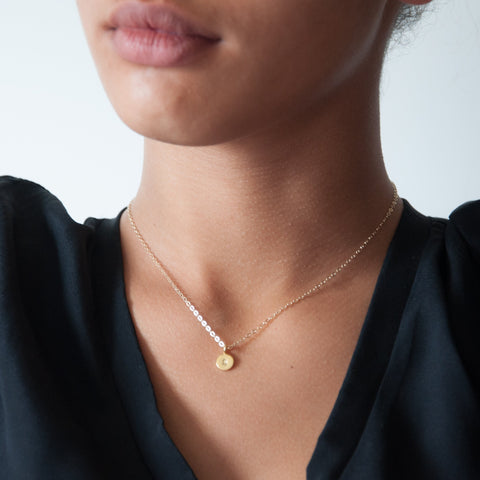 Gold initial charm necklace 14k gold