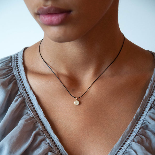 Tiny Initial Necklace in 14k Gold Personalized - Vivien Frank Designs