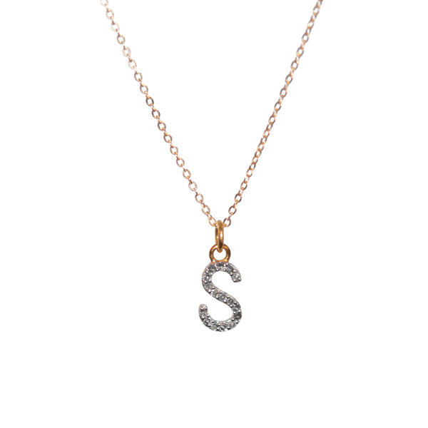 14k solid gold Diamond Initial Necklace A-Z - Vivien Frank Designs