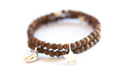 Rosewood Star or Heart charm bracelet